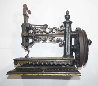 Rare Antique Shaw & Clark,  Biddeford Maine,  Hand Crank Sewing Machine C.  1860 photo