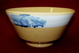 Old Antique Pottery Pearlware Glaze Mocha Blue Seaweed Decorated Yelloware Bowl photo