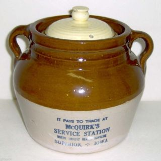 Vintage Mcquirk ' S Service Station Cheese Crock - Superior Iowa photo