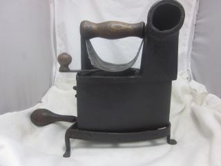 Antique Victorian J.  J Siddons Coal Sad Flat Iron W/ Chimney & Stand photo