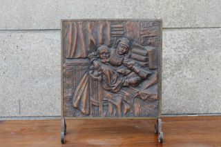 Antique Vintage Victorian Embossed Fire Screen Fireplace Medieval Scene photo
