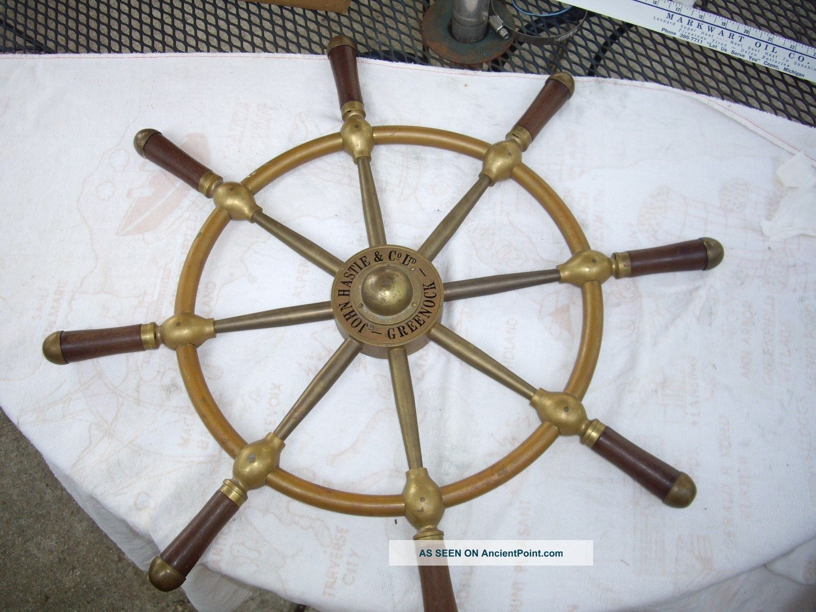 John Hastle & Co Ltd Greenock Brass & Wood Ship Wheel Wheels photo