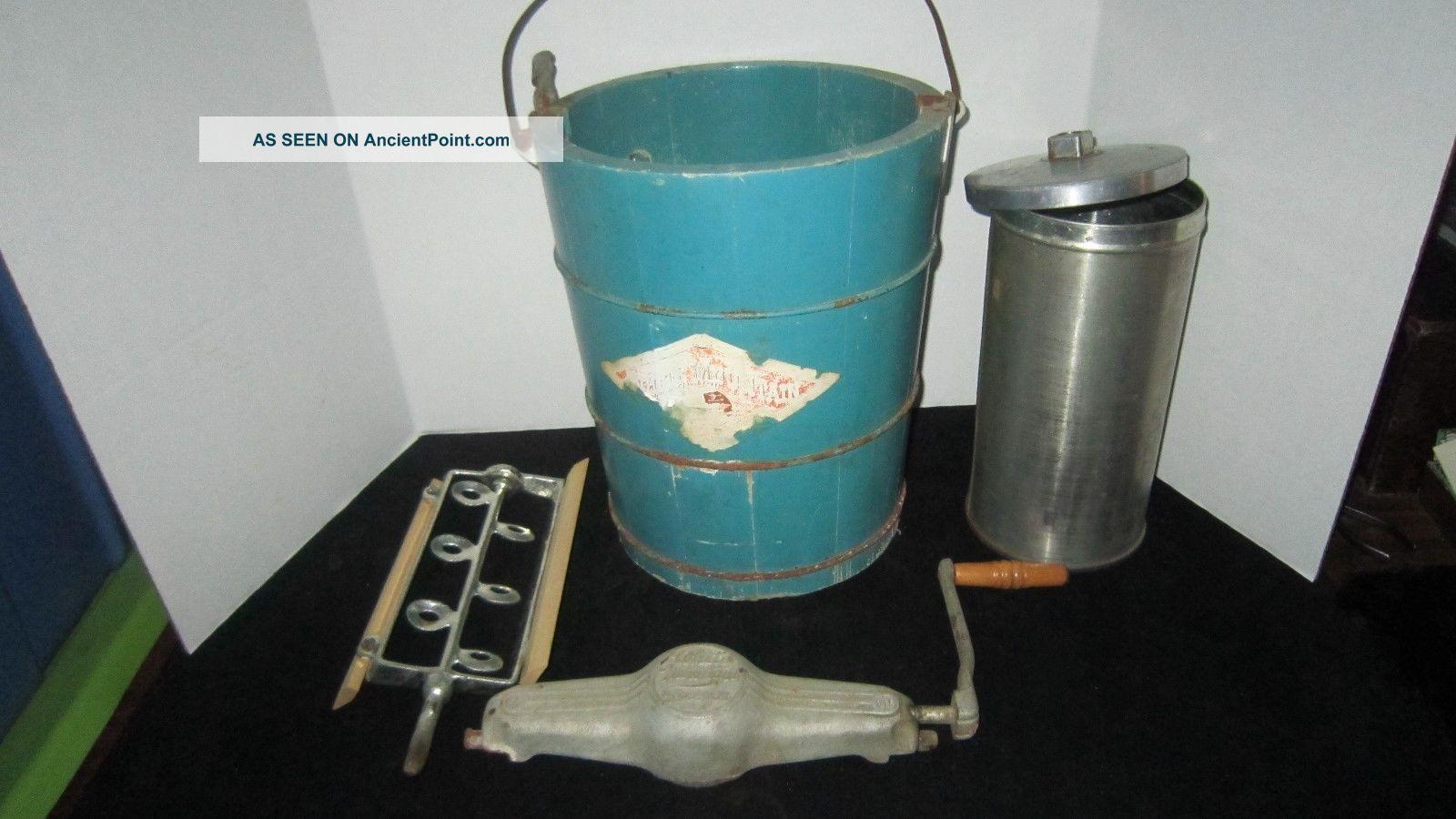 antique hand crank white mountain ice cream freezer maker 4qt wood