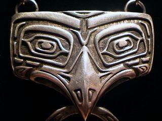 Pacific Northwest Haida Sterling Eagle Totem Pendant W Onyx Necklace 34.  9 Grams photo