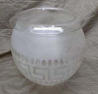 Antique Old Etched Glass Lamp Shade Etched Glass For Gas Or Oil Light Chandelier photo