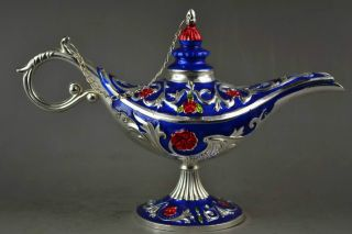 Handwork Miao Silver & Cloisonne Carving Flower Rare Noble Magical Aladdin Lamp photo