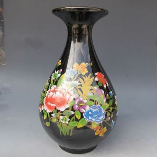 Black & Elegance Porcelain China Old Hand Painting Lotus Atmosphere Big Vase Nr photo