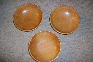 Old Vintage Wooden Japanese Bowl Signed Vintage Patina Finish 3 Bowls photo