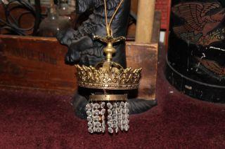 Vintage Art Deco Chandelier W/hanging Crystals - Gold Metal - 1 - Single Light - Lqqk photo