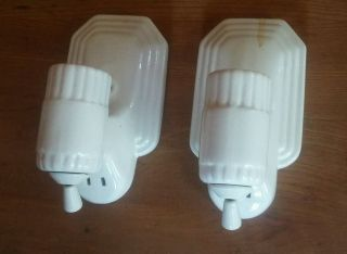 Two Vintage Wall Mount Art Deco Porcelain Light Sconces Fixtures Plug Pull Chain photo