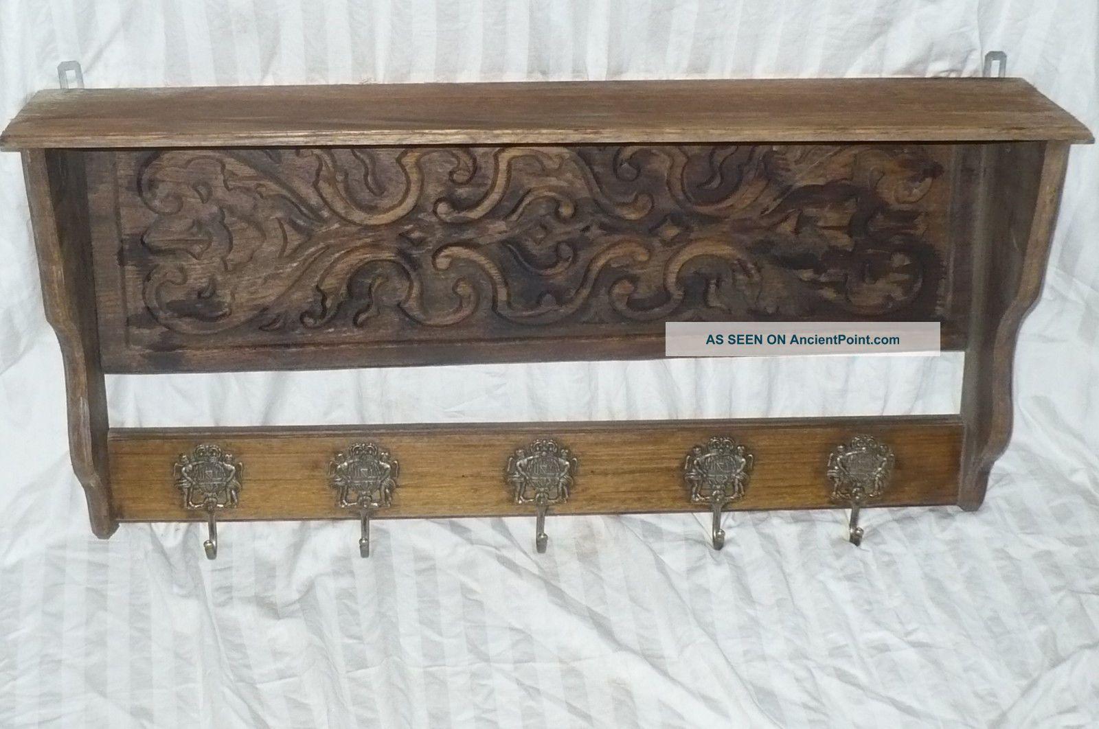 Antique Wood Carved Kitchen Copper Pot Rack Mud Room 5 Brass Hooks 1800-1899 photo