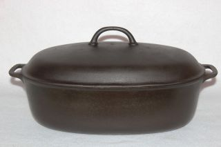 Vintage Griswold (slant Logo) 2629 Oval Roaster & 2630 Cover Cast Iron Cookware photo