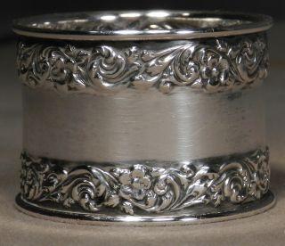 Watson Sterling Silver Napkin Ring Antique Wide Ebossed Fancy Holder photo