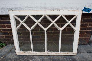 Antique 13 Lite Victorian Gothic Wood Window Sash Old Architectural Vtg Glass 21 photo