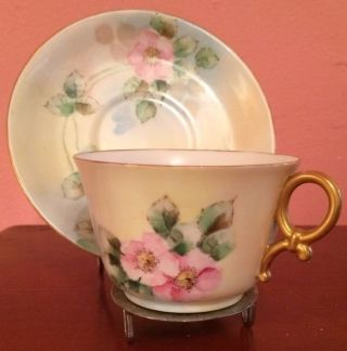 T&v Limoges France Tea Cup And Saucer Moustache Cup Painted Teacup photo