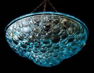 Stunning Blue Glass Drops Art Deco Chandelier Ceiling Light France 1930s photo