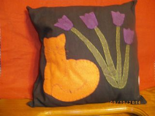 Country Black Pillow With Orange Cat And Purple Flowers With Stems Stitched 13