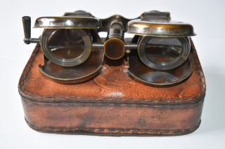 Folding Lens Solid Brass Binoculars In Leather Case - Maritime Steampunk photo