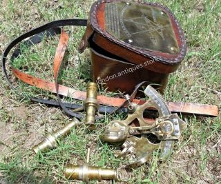 Antique Bronze Pocket Sextant London With Leather Box.  Old Brass.  Vintage Style. photo