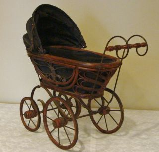 Lovely German Doll Stroller Carriage Buggy Wicker - Iron - Hard Cloth Bonnet 30 ' S photo