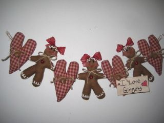 Christmas Fabric Gingerbread Burgundy Heart Ornies 24in.  Garland Swag Decor photo