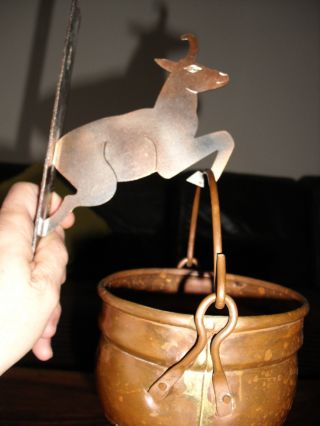 Vintage Copper Suspended Pot W/ Copper Goat Holder From Republic Of Irland. photo