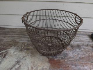 Antique Clam / Oyster Basket Metal Chesapeake Bay Vintage & 20 Large Cork Floats photo
