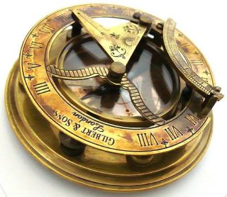 Classy Vintage Gilbert London Maritime Antique Sundial Compass With Case Sc 029 photo