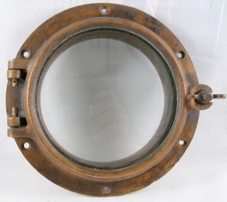 Antique Bronze Porthole,  Salvaged Porthole Nautical Wc 6 Porthole photo