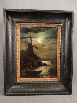 Antique Luminist Style Moonlight Seascape Old Windmill & Sailboats Oil Painting photo