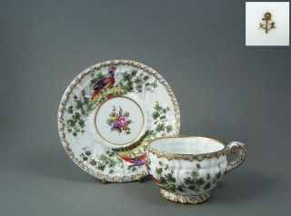 Antique Handpainted Porcelain Cup Saucer Duo Samson France 19th Century Derby photo