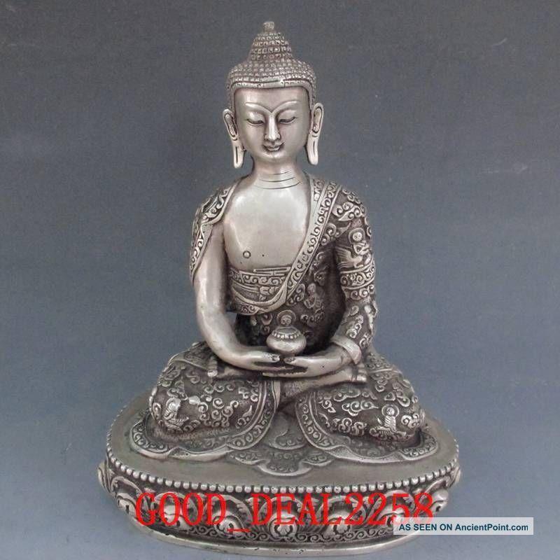 Tibet Silver Bronze Tibetan Buddhism Statue - Sakyamuni Buddha W Carved Dragon Buddha photo