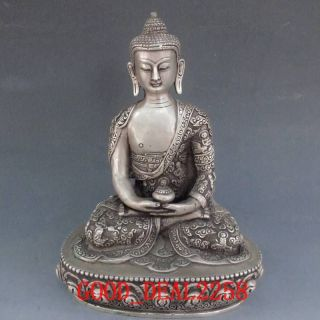 Tibet Silver Bronze Tibetan Buddhism Statue - Sakyamuni Buddha W Carved Dragon photo