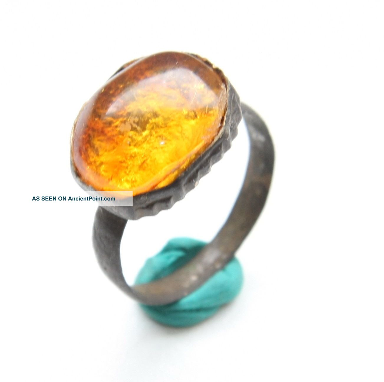 Ancient Medieval Bronze Finger Ring With Amber Inlay (avg09) Byzantine photo