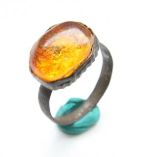 Ancient Medieval Bronze Finger Ring With Amber Inlay (avg09) photo