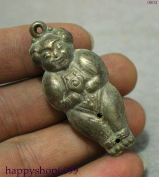 Tibet Miao Silver Bless 2 Face Girl Kid Ruyi Belle Lucky Statue Amulet Pendant photo