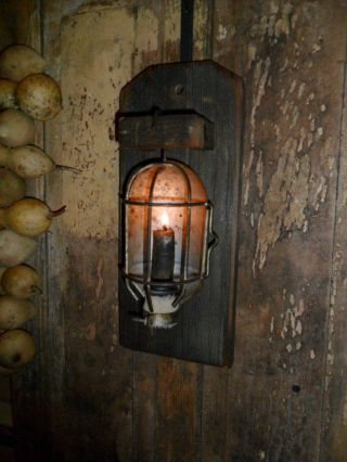 Primitive Early Look Farmhouse Lantern Light,  Old Barn Wood,  Wall Candle photo