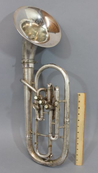 Vintage Fresh Picked,  York,  Silver Plated Alto Euphonium Horn, photo