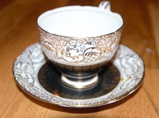 Royal Stafford Teacup And Saucer Black And Gold 8251 photo