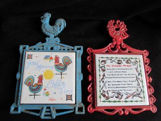 Two 2 Vintage Japan Painted Cast Iron Rooster Chicken Ceramic Tile Trivets photo