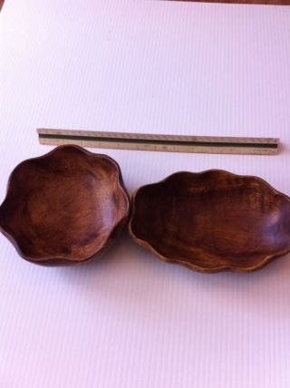 Vintage Monkey Pod Wood Brown Candy - N - Nut Dishes Philippines photo