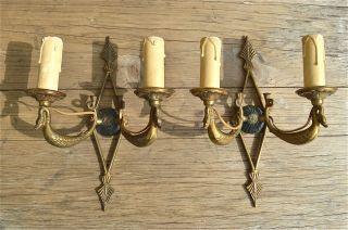 Antique Regency Style Wall Light Sconces Light Brass Brackets photo