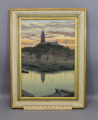 Vintage Mid 20thc F.  S.  Rousseau,  Sailboat Harbor & Sunset Oil Painting,  Nr photo
