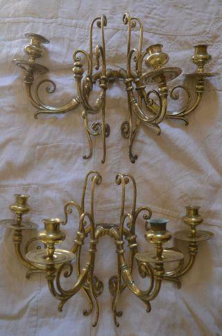 Pair Antique French 19th Century Brass Girandoles/wall Sconces photo