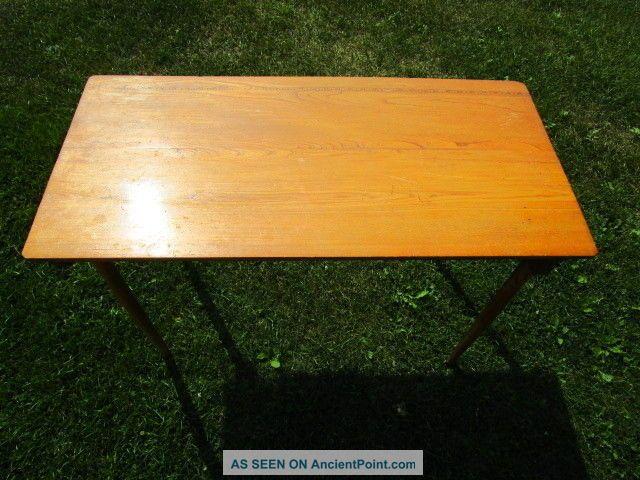 Vintage Oak Folding Legs Sewing Table Desk,  Good Shape 36