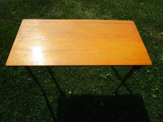 Vintage Oak Folding Legs Sewing Table Desk,  Good Shape 36