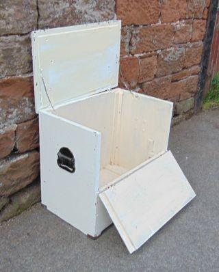 Rustic Trunk Box Chest Decorative Vintage Painted White Storage,  Lid & Handles photo