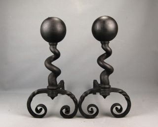 Antique Modernist Cast Iron Fireplace Spiral Ball Top Andirons Bradley & Hubbard photo
