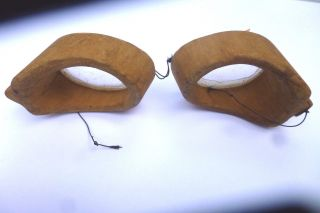 Primitive Antique Hand Carved Safety Eyeglasses Well Done.  See Pictures photo
