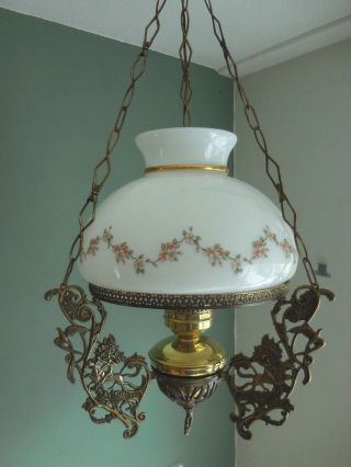 Elect Style Oil Hanging Lamp Brass Bronze French Chandelier Library Horse Bird photo